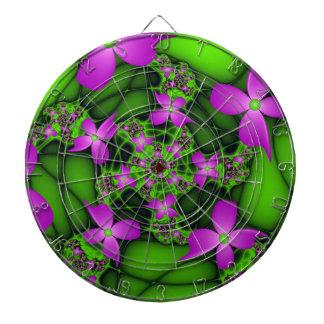 Modern Abstract Neon Pink Green Fractal Flowers Dartboard