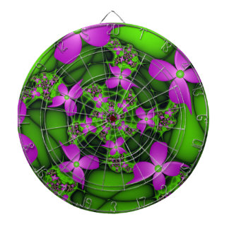 Modern Abstract Neon Pink Green Fractal Flowers Dartboards