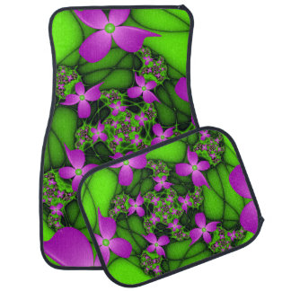 Modern Abstract Neon Pink Green Fractal Flowers Floor Mat
