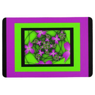 Modern Abstract Neon Pink Green Fractal Flowers Floor Mat