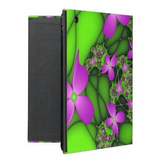 Modern Abstract Neon Pink Green Fractal Flowers iPad Case