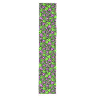 Modern Abstract Neon Pink Green Fractal Flowers Medium Table Runner