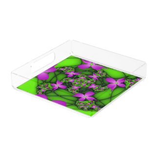 Modern Abstract Neon Pink Green Fractal Flowers Perfume Tray