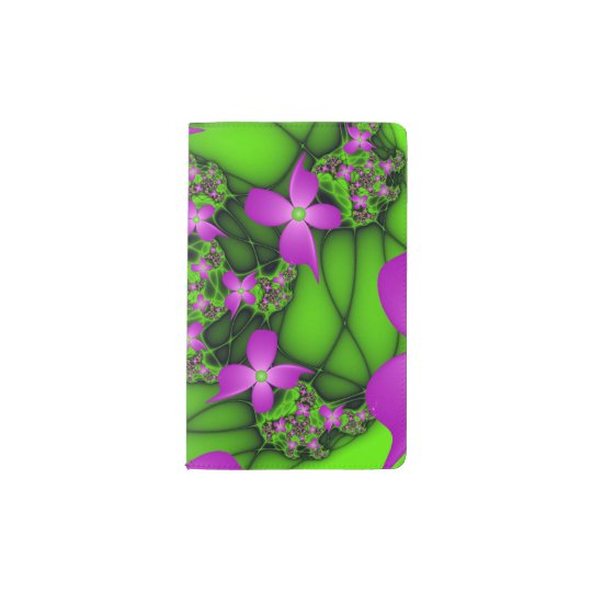 Modern Abstract Neon Pink Green Fractal Flowers Pocket Moleskine Notebook