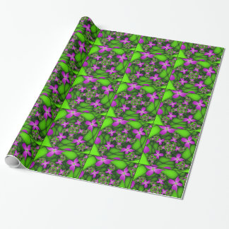 Modern Abstract Neon Pink Green Fractal Flowers Wrapping Paper