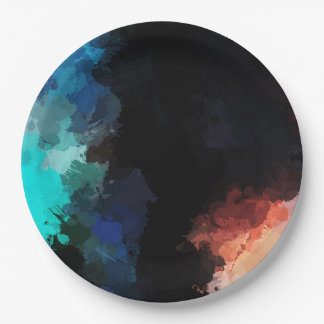 Modern Abstract Paint Splatters Black Orange Blue Paper Plate