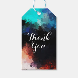 Modern Abstract Paint Splatters Thank You Gift Tags