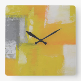modern abstract painting grey yellow white square wall clock