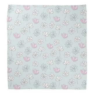 Modern abstract pastel pink blue trendy floral bandanna