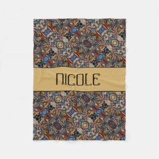 Modern Abstract Pattern Custom Name Fleece Blanket