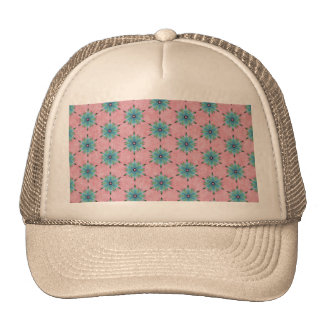 Modern abstract pink teal floral pattern. trucker hat