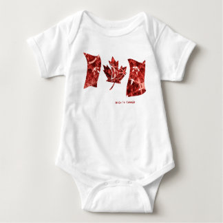 Modern Abstract Red Maple Leaf Waving Canada Flag Baby Bodysuit