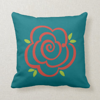 Modern Abstract Red Rose on Deep Sea Blue Throw Pillow