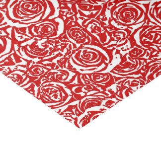Modern Abstract Rose Pattern, Dark Red and White Tissue Paper