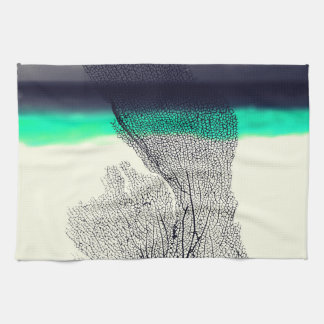 Modern Abstract Sea Coral Reef on Beach Background Kitchen Towel