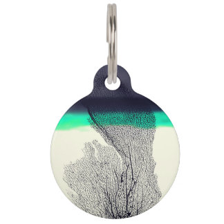 Modern Abstract Sea Coral Reef on Beach Background Pet Nametag