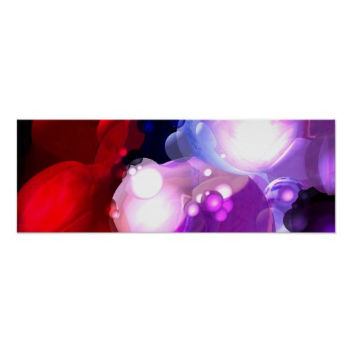Modern Abstract Spheres Art Panoramic Poster Print