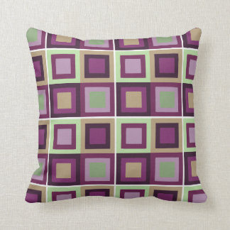 modern abstract square pattern purple green pillow