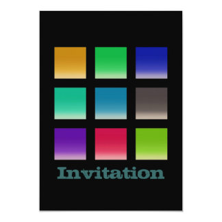 """Modern Abstract Squares Pattern 5"""" X 7"""" Invitation Card"""