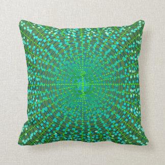 Modern Abstract Starburst, Jade Green and Aqua Throw Pillow