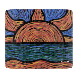 Modern Abstract Sunrise Orange And Blue Cutting Board