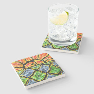 Modern Abstract Sunset Beach Waves Stone Coaster