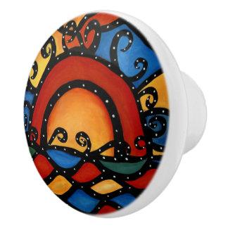 Modern Abstract Sunset Ceramic Knob