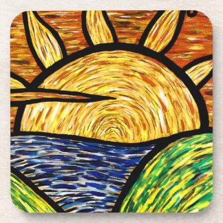 Modern Abstract Sunset Coaster