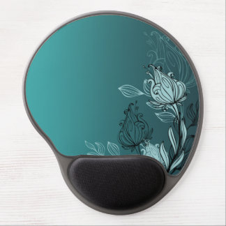 Modern Abstract Teal Floral Gel Mouse Pad