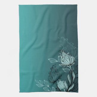 Modern Abstract Teal Floral Kitchen Towel