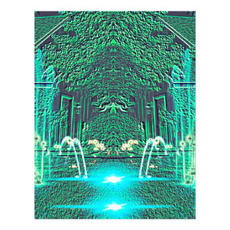 Modern Abstract teal Water Fountain Fantasy Custom Letterhead