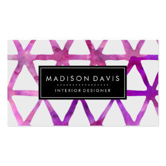 Modern Abstract Triangle Purple Watercolor Business Card