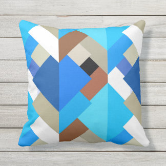 Modern Abstract Triangles, Cobalt Blue and Brown Throw Pillow