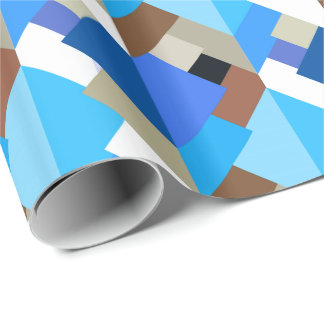 Modern Abstract Triangles, Cobalt Blue and Brown Wrapping Paper