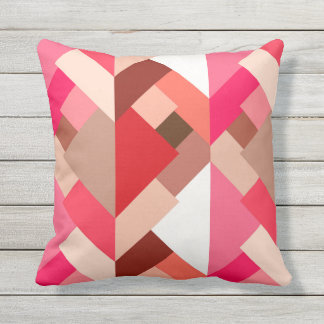 Modern Abstract Triangles, Coral Red and Pink Outdoor Pillow