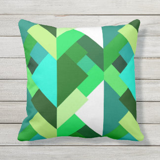 Modern Abstract Triangles, Emerald Green and Aqua Outdoor Pillow