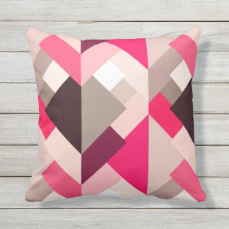 Modern Abstract Triangles, Fuchsia Pink and Gray Throw Pillow