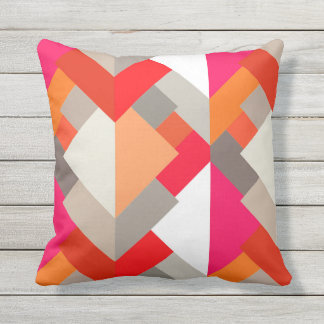 Modern Abstract Triangles, Orange, Fuchsia, and Gr Throw Pillow