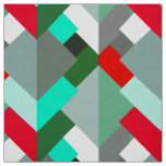 Modern Abstract Triangles, Turquoise, Red, & Grey Fabric