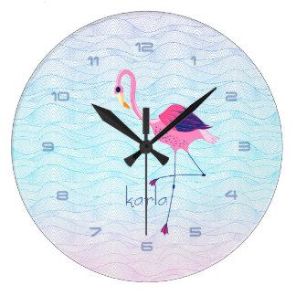 Modern Abstract Water Waves & Pink Flamingo Clocks