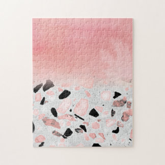 Modern abstract watercolor and marble design jigsaw puzzle