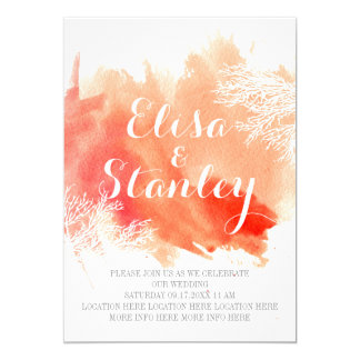 Modern abstract watercolor coral reef wedding card