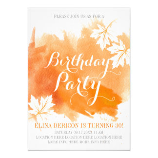 Modern abstract watercolor orange birthday party card