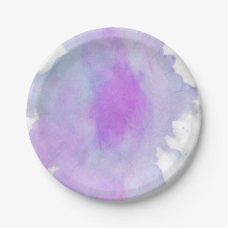 Modern abstract watercolor paper plate