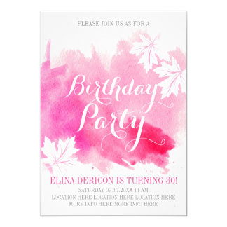 Modern abstract watercolor pink birthday party card