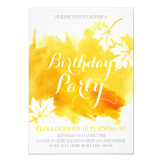 Modern abstract watercolor yellow birthday party card