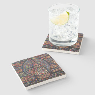 Modern Abstract Wine Bottle & Glass Stone Coaster