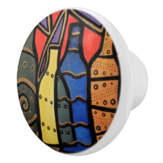Modern Abstract Wine Bottles Bright Colors Ceramic Knob