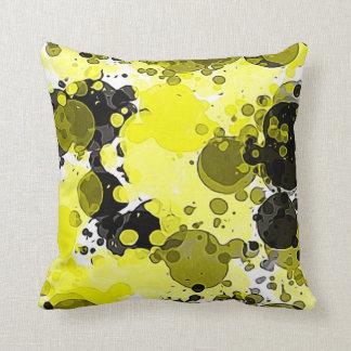 Modern Abstract Yellow and Black Paint Splatter Throw Pillow