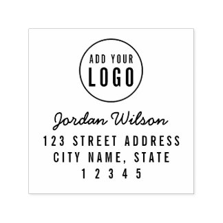 Modern Add Your Logo Script and Bold Address Self-inking Stamp